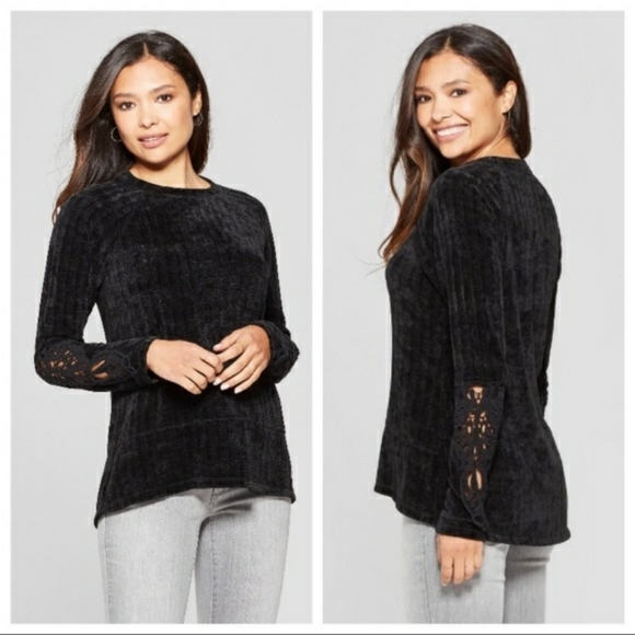 Knox Rose Womens M Black Chenille Crochet Sweater